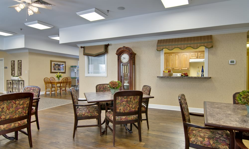 Community kitchen with accessible counters at South Pointe Senior Living in Washington, Missouri