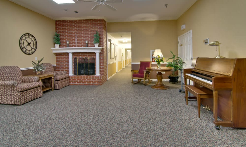 Music corner in the dining hall at South Pointe Senior Living in Washington, MO