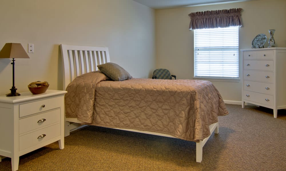 Bedroom at the Sugar Creek Senior Living community in Troy, Missouri