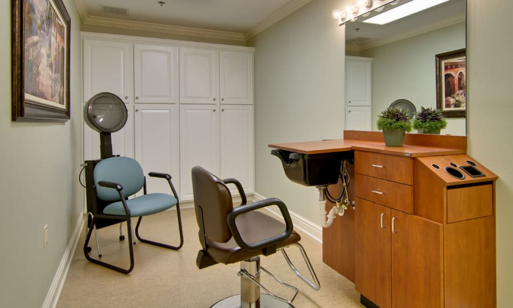 Community hair salon at Sugar Creek Senior Living in Troy, Missouri