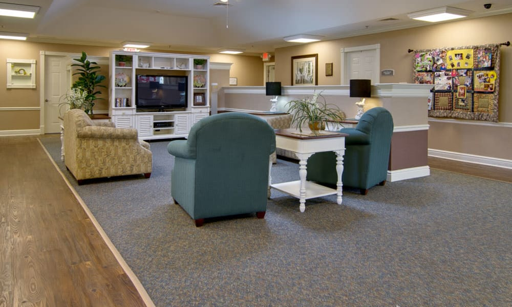 Community entertainment area at Sugar Creek Senior Living in Troy, Missouri