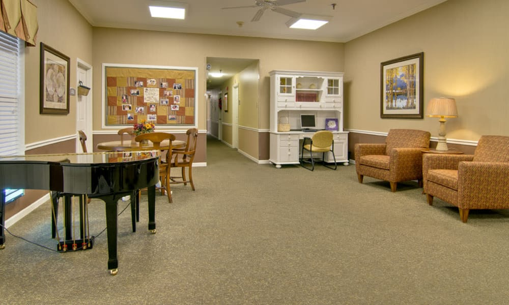 Music corner in the dining hall at Highland Crest Senior Living in Kirksville, MO