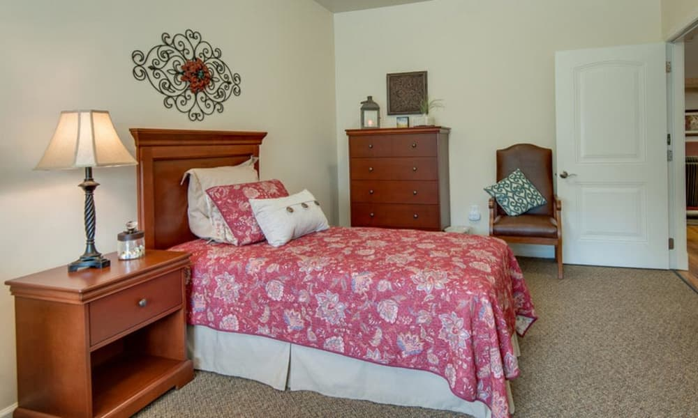 Memory Care bedroom at Mattis Pointe Senior Living in Saint Louis, Missouri