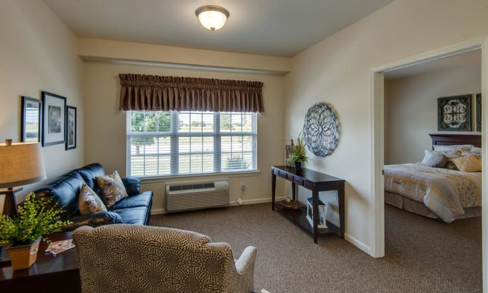 One bedroom floor plans available at Mattis Pointe Senior Living in Saint Louis, Missouri