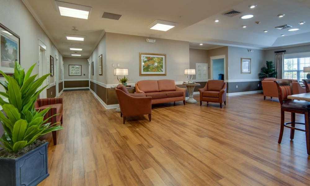 Lobby interior at Mattis Pointe Senior Living in Saint Louis, Missouri