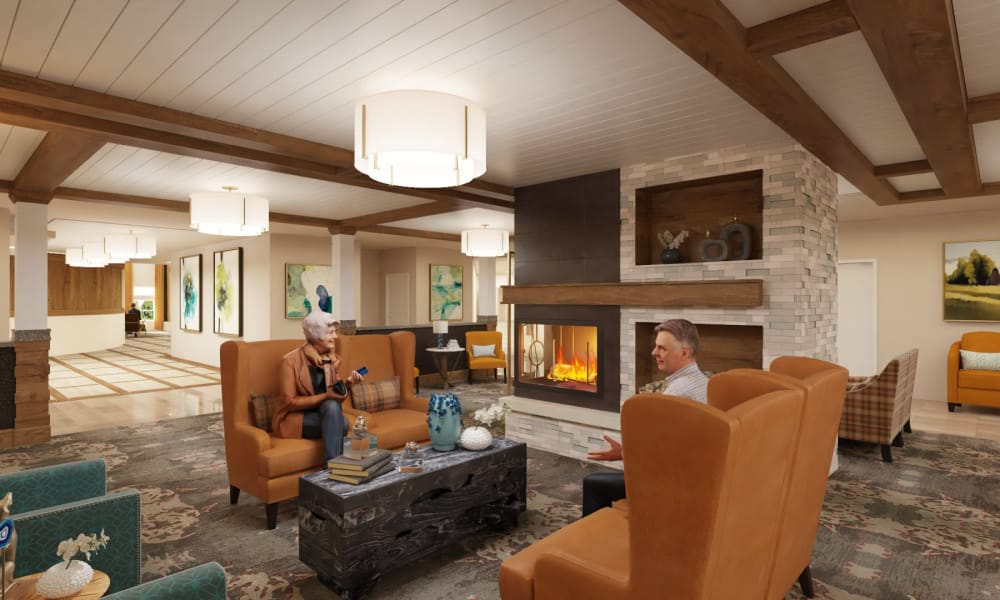 Fireside lounge at The Alexander in Bend, Oregon