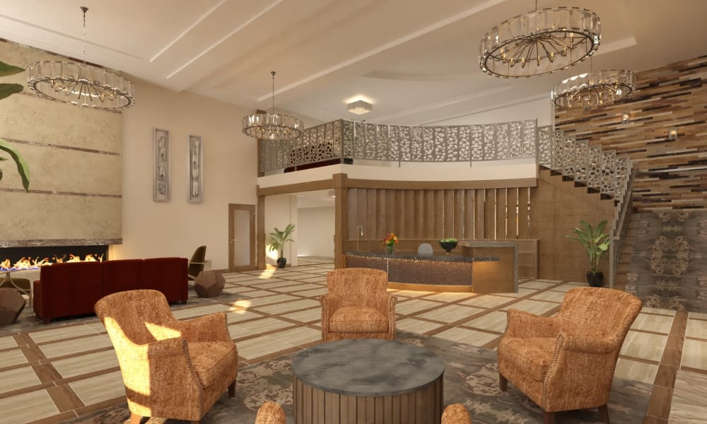 Main lobby and concierge desk at The Alexander in Bend, Oregon