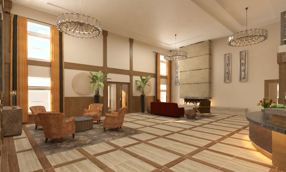 Main lobby at The Alexander in Bend, Oregon
