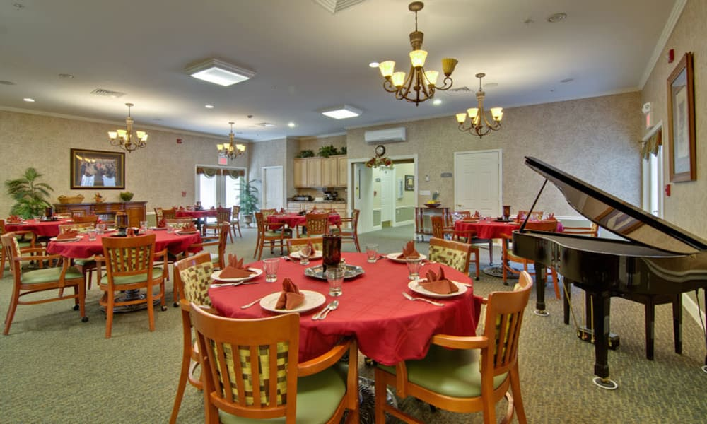 Music corner in the dining hall at Chestnut Glen Senior Living in Saint Peters, MO