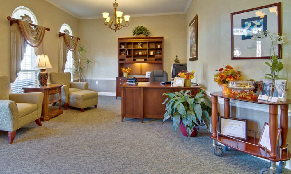 Reception area at Chestnut Glen Senior Living in Saint Peters, Missouri
