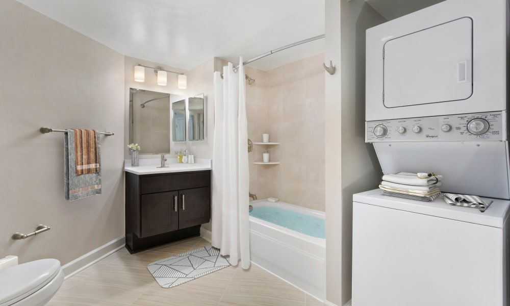 Model bathroom and laundry room at Alexander House in Silver Spring, Maryland