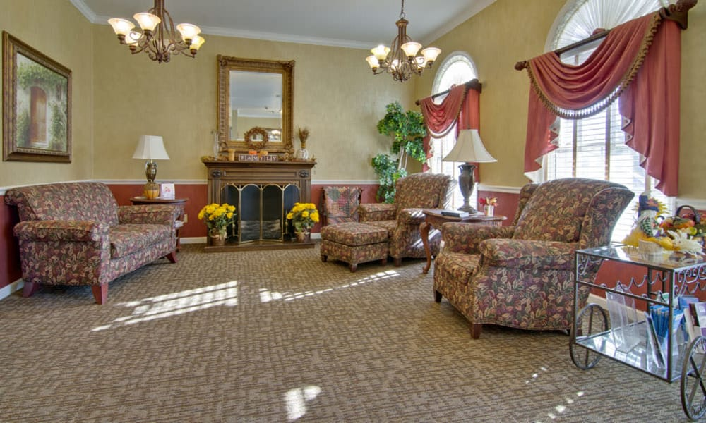 Lounge area with comfortable seating at Silver Creek Senior Living in Joplin, Missouri