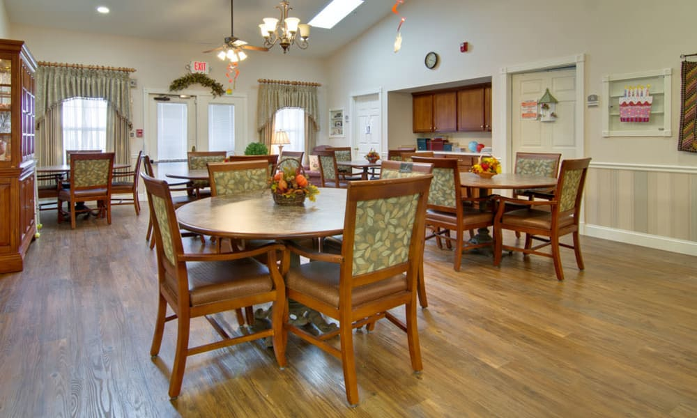Community kitchen in the dining room at Silver Creek Senior Living in Joplin, Missouri