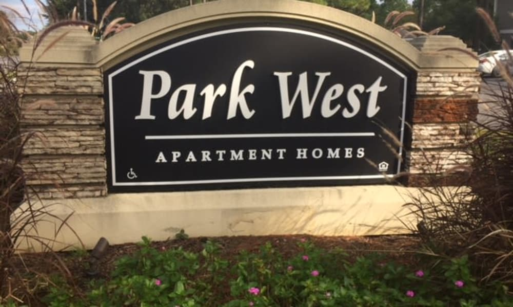 Welcome sign at Park West in Mobile, Alabama