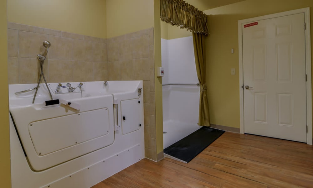 Accessible bathtub and shower at Azalea Court Senior Living in Smyrna, Tennessee