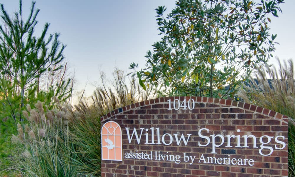 Branding and Signage outside of Willow Springs Senior Living in Spring Hill, Tennessee