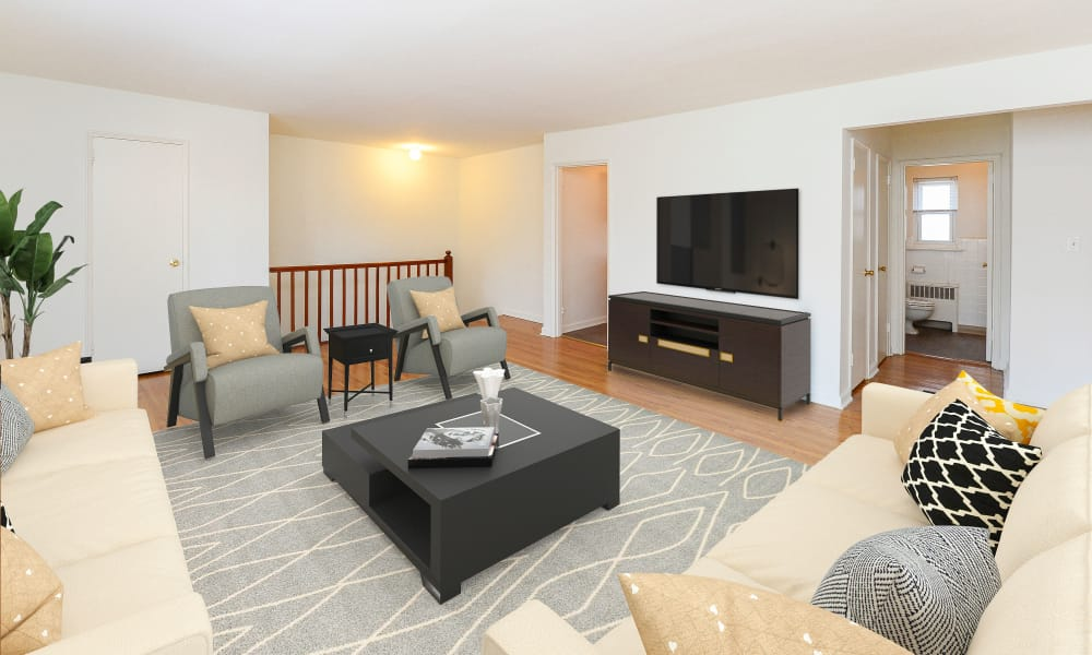 Beautiful living room at Duncan Hill Apartments & Townhomes in Westfield, NJ