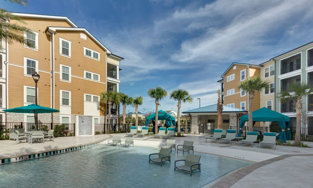 Pool view at Integra Sunrise Parc Apartments in Kissimmee, Florida