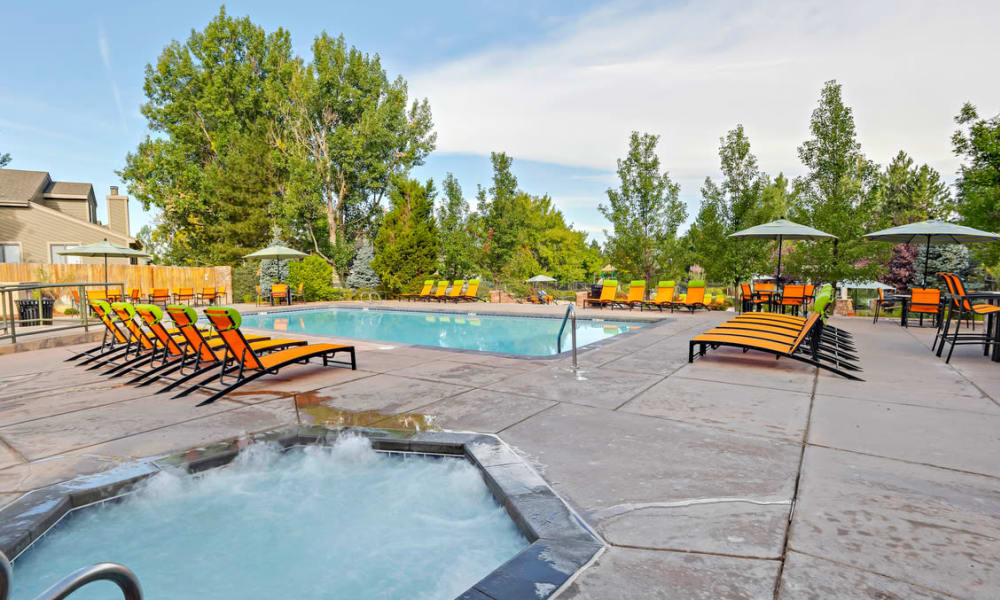 Beautiful apartments and townhomes with a swimming pool at Environs Residential Rental Community