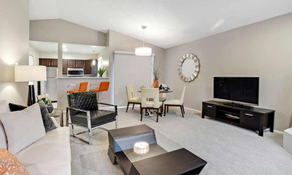 Unique living room at Environs Residential Rental Community in Westminster, Colorado