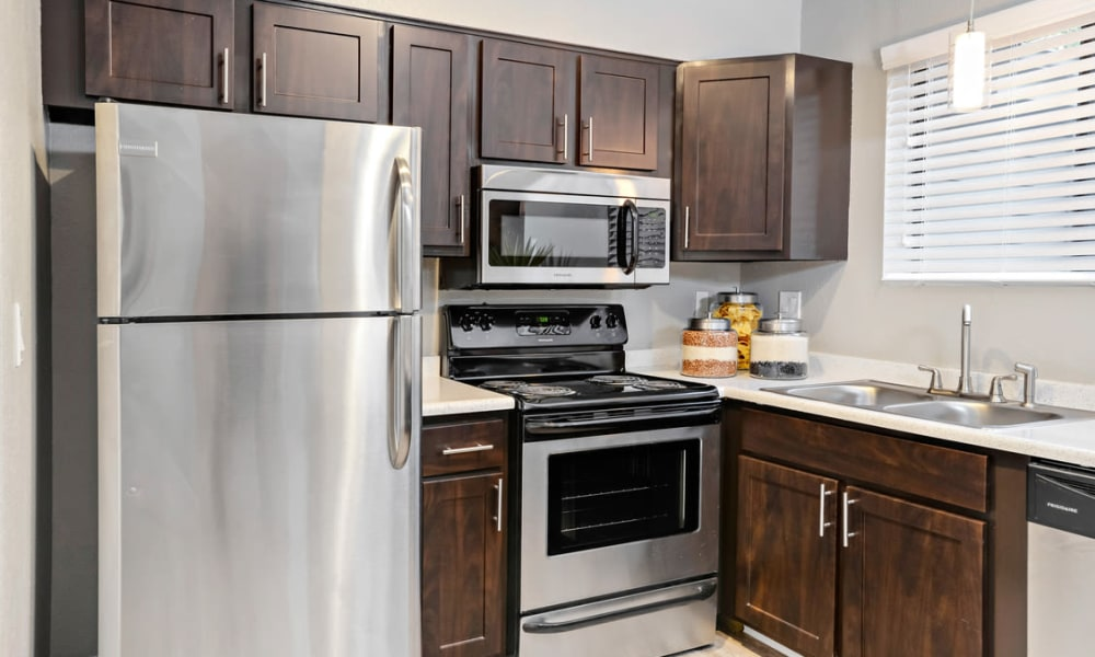 Stainless-steel appliances at apartments and townhomes in Westminster, Colorado