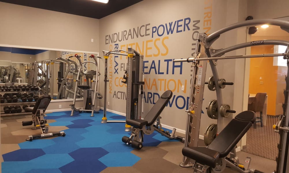 Fitness center at Environs Residential Rental Community in Westminster, Colorado