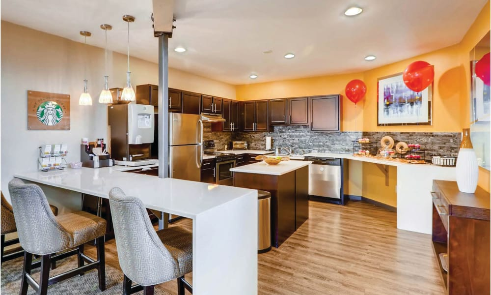 Spacious clubhouse kitchen at Environs Residential Rental Community in Westminster, Colorado