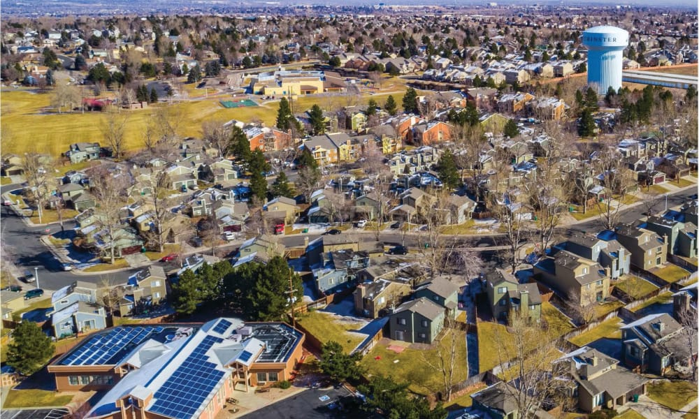 Aerial view of apartments at Environs Residential Rental Community in Westminster, Colorado