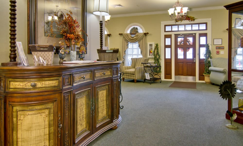 Main entrance at Schilling Gardens Senior Living in Collierville, Tennessee