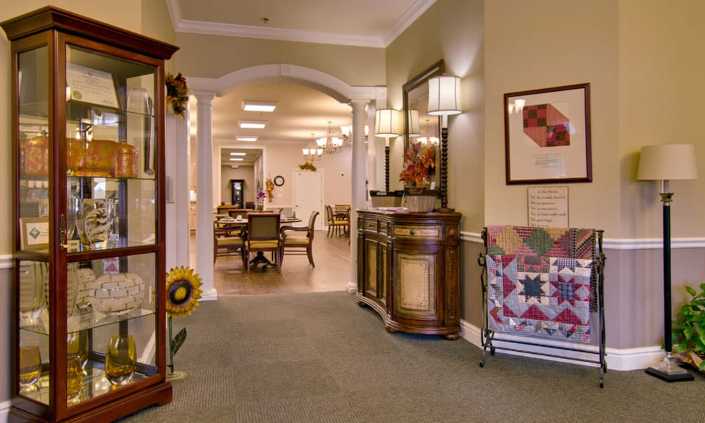 Hallway to the dining room at Schilling Gardens Senior Living in Collierville, Tennessee