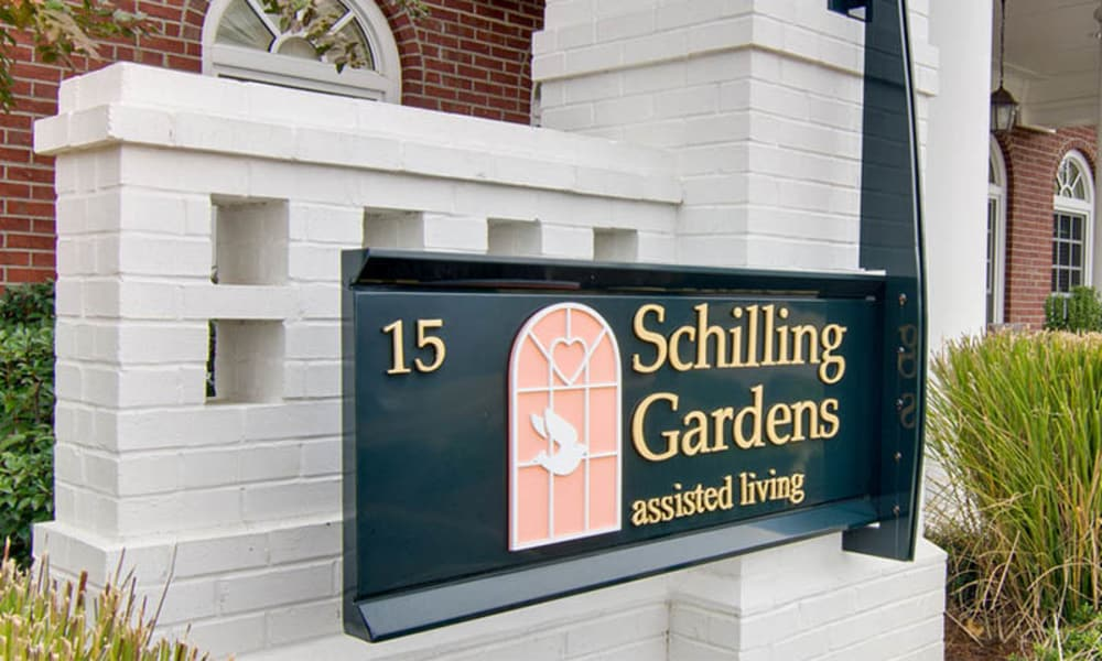 Branding and Signage outside of Schilling Gardens Senior Living in Collierville, Tennessee