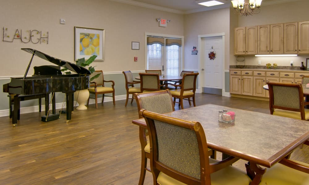 Music corner in the dining hall at Schilling Gardens Senior Living in Collierville, TN