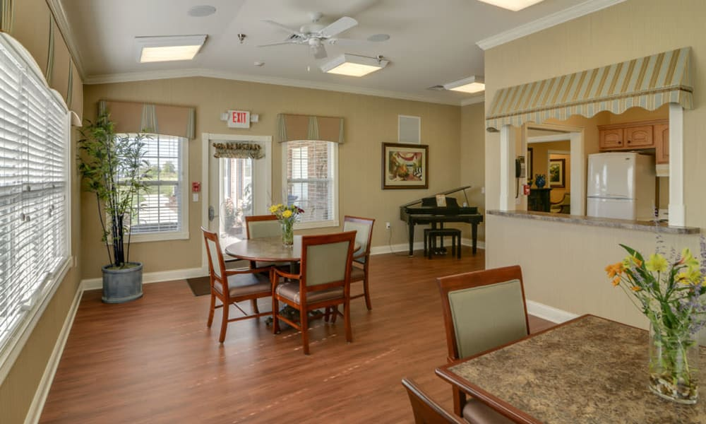 Music corner in the dining hall next to the community kitchen at Colony Pointe Senior Living in Columbia, MO