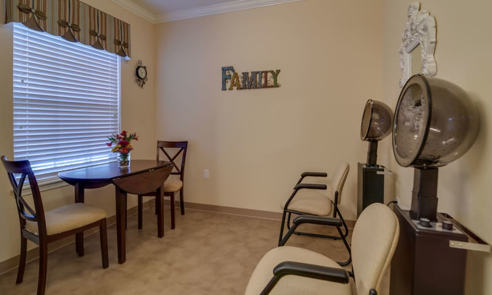 Seating at the on-site salon at Colony Pointe Senior Living in Columbia, Missouri