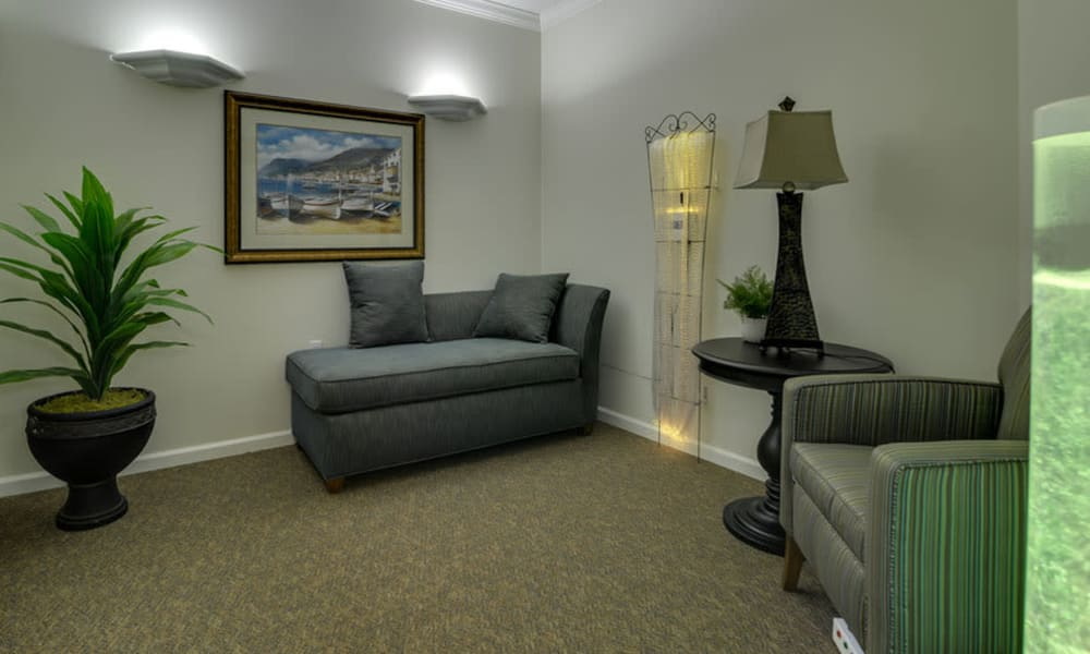 Memory Care reading area at Colony Pointe Senior Living in Columbia, Missouri