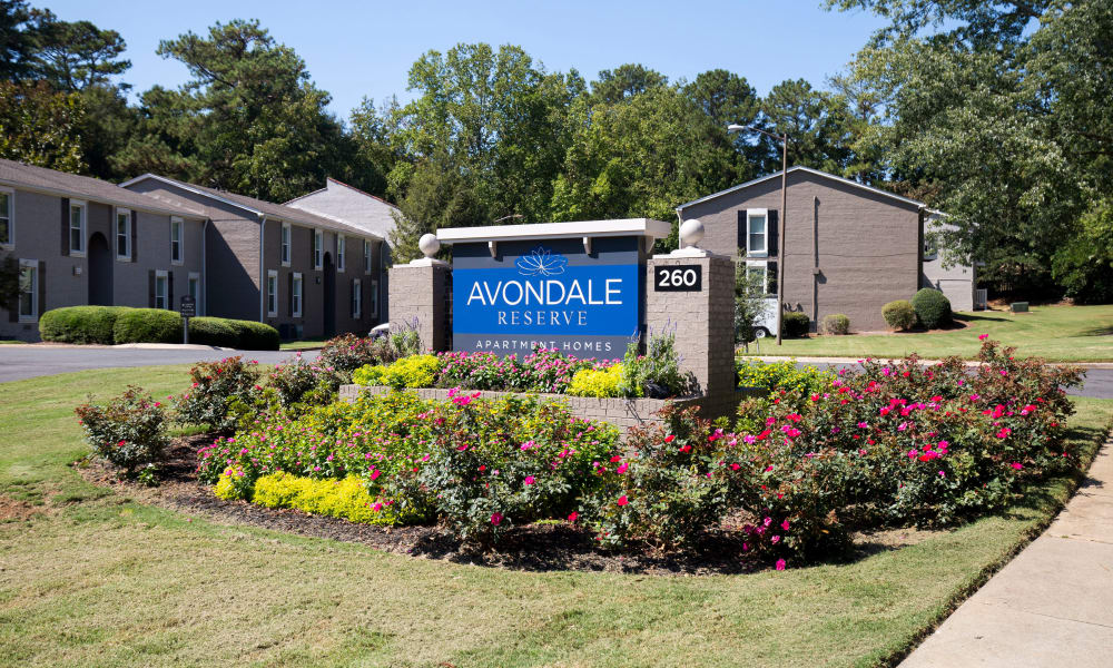 Welcome sign at Avondale Reserve in Avondale Estates, Georgia