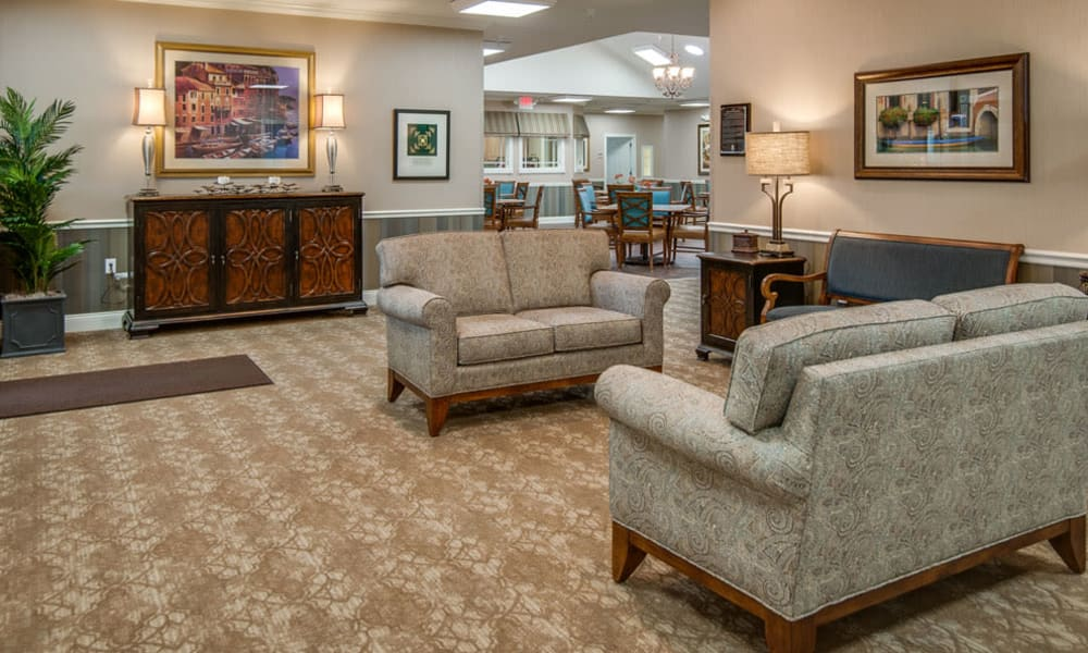 Entrance interior at Etheridge House Senior Living in Union City, Tennessee
