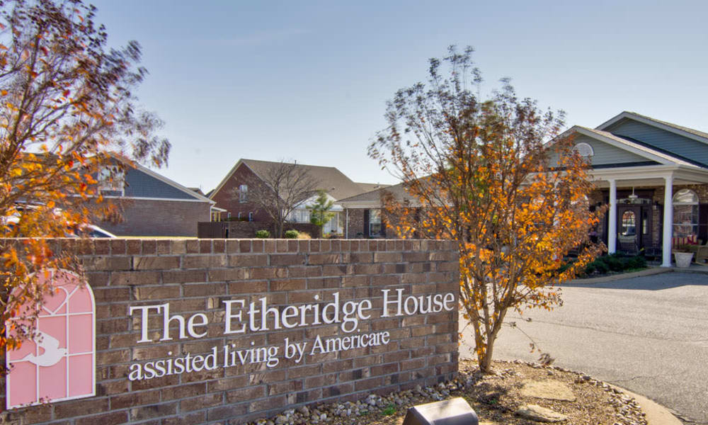 Branding and Signage outside of Etheridge House Senior Living in Union City, Tennessee