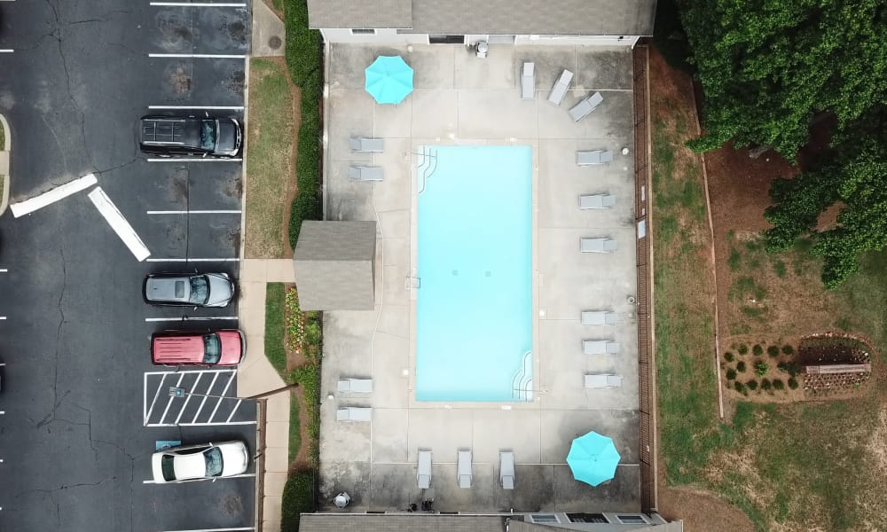 Aerial view of the swimming pool at Gregory Lane in Acworth, Georgia