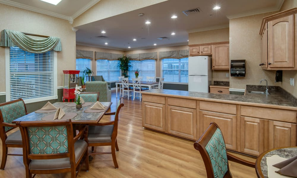 Community kitchen with accessible counters at South Breeze Senior Living in Memphis, Tennessee