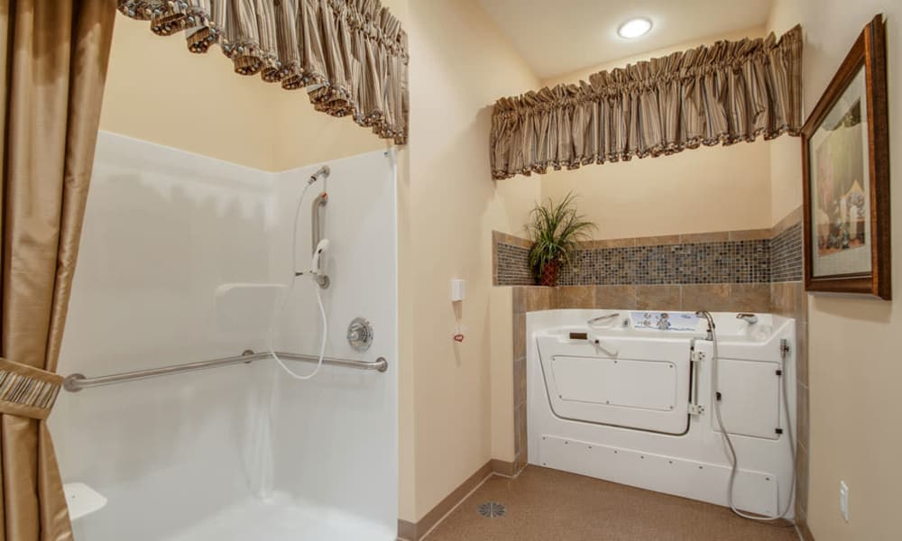 Accessible bathtub and shower at South Breeze Senior Living in Memphis, Tennessee