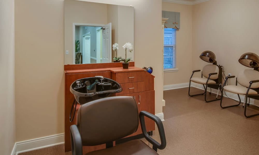 Community salon for residents at South Breeze Senior Living in Memphis, Tennessee