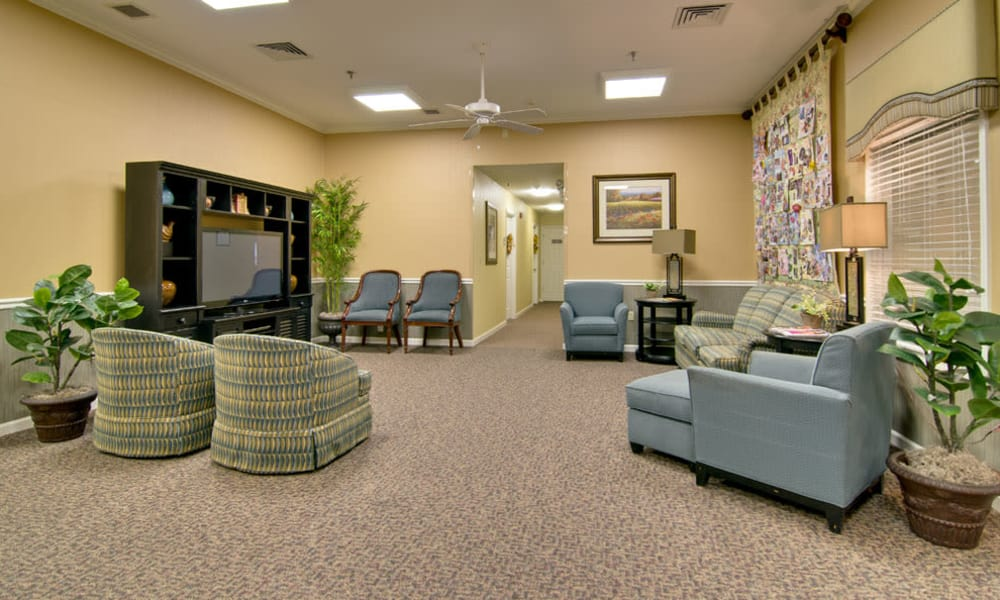 Entertainment room with comfortable seating at St. Francis Park Senior Living in Kennett, Missouri