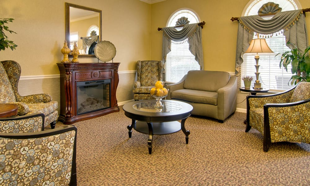 Front lobby with comfortable seating at St. Francis Park Senior Living in Kennett, Missouri