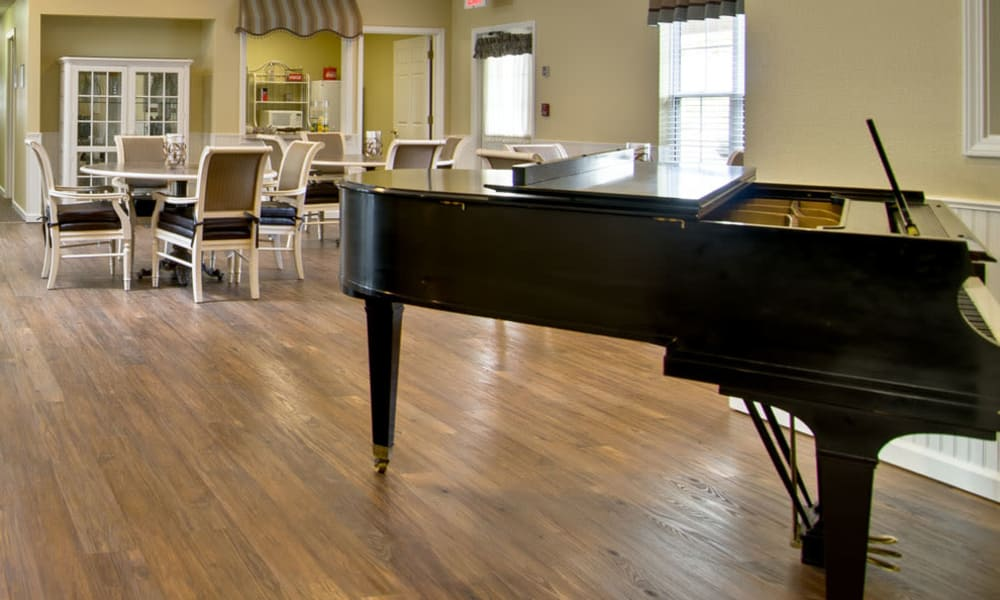 Music corner in the dining hall at St. Francis Park Senior Living in Kennett, MO