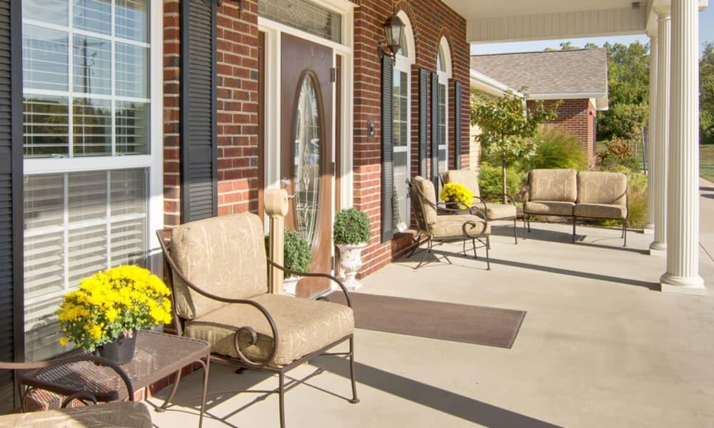 Front porch at Hartmann Village Senior Living in Boonville, Missouri