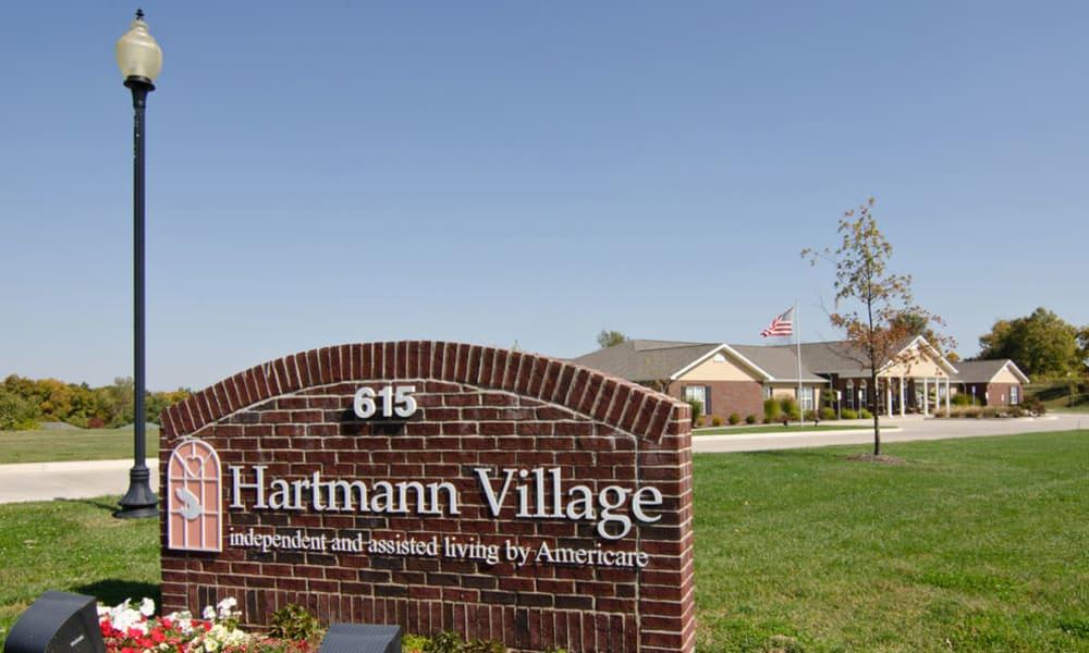 Branding and Signage outside of Hartmann Village Senior Living in Boonville, Missouri
