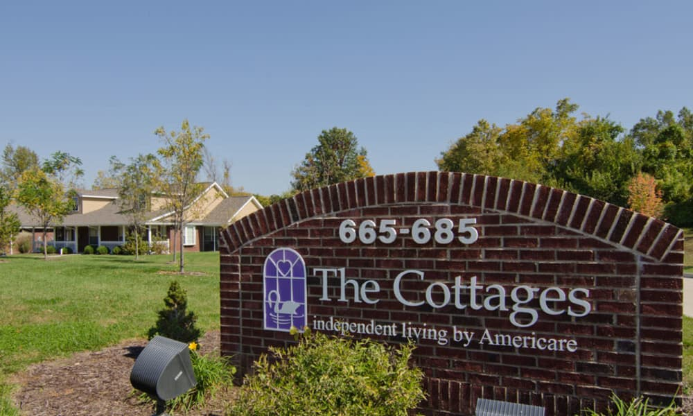 The cottages main sign at Hartmann Village Senior Living in Boonville, Missouri