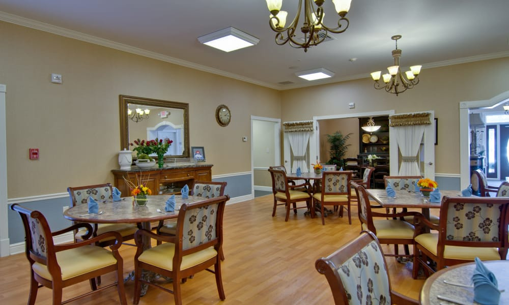 Dining area at the center of Hartmann Village Senior Living in Boonville, Missouri