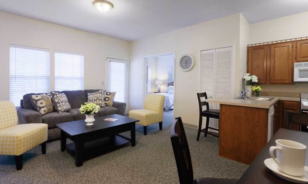 Apartment living room, dining room and kitchen at TigerPlace in Columbia, Missouri